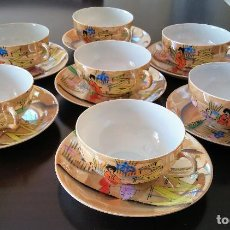 Antigüedades: JUEGO DE CAFÉ (7 TAZAS Y 7 PLATOS) PORCELANA CHINA CASCARA DE HUEVO AÑOS 40. Lote 145818978