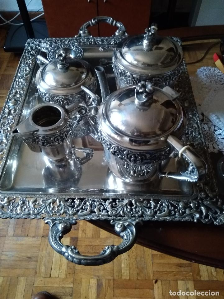 BONITO JUEGO CAFE O TE EN PLATEADO INGLES DEL SIGLO XIX (Antigüedades - Platería - Bañado en Plata Antiguo)