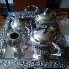 Antigüedades: BONITO JUEGO CAFE O TE EN PLATEADO INGLES DEL SIGLO XIX. Lote 145820842