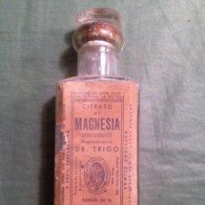 Antigüedades: BOTELLA DE FARMACIA - CITRATO DE MAGNESIA, DR. TRIGO, VALENCIA - 1927. Lote 184373167