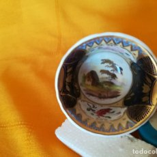 Antigüedades: MUY ESPECIAL COLECCION. FABULOSA TAZA. EXPLENDIDA DECORACION INTERIOR. PAISAJE CASA DE CAMPO. S. XIX. Lote 52565649