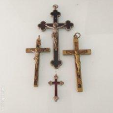 Antigüedades: 4 CRUCIFIJO. CRUZ BRONCE Y MADERA DE EBANO. CRISTO BRONCE. SIGLO XIX. Lote 145882086