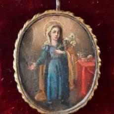 Antigüedades: EXCEPCIONAL DEVOCIONARIO DEL SIGLO XVII CON PINTURA DE SANTA ANA. Lote 145898310