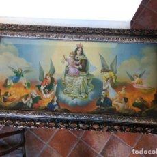 Antigüedades: CUADRO CON LÁMINA VIRGEN DEL CARMEN, 93X50CM. Lote 145906738