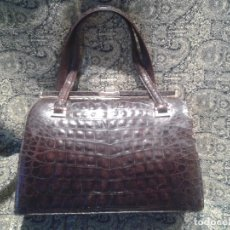 Antigüedades: BOLSO YACARE CAIMAN COCODRILO AUTENTICO. ESPECTACULAR. Lote 146005770