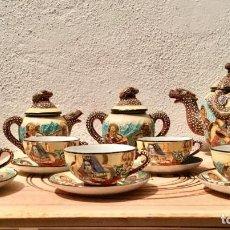 Antigüedades: ANTIQUE COFFEE SET / ANTIGUO JUEGO DE CAFÉ EN PORCELANA SATSUMA. VINTAGE. Lote 146008970