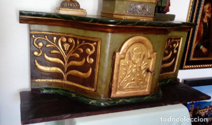 Antigüedades: SAGRARIO ESCUELA ESPAÑOLA S. XVII.MADERA TALLADA, DORADA Y POLICROMADA.127,5X53X39.5 CMS - Foto 8 - 146039330