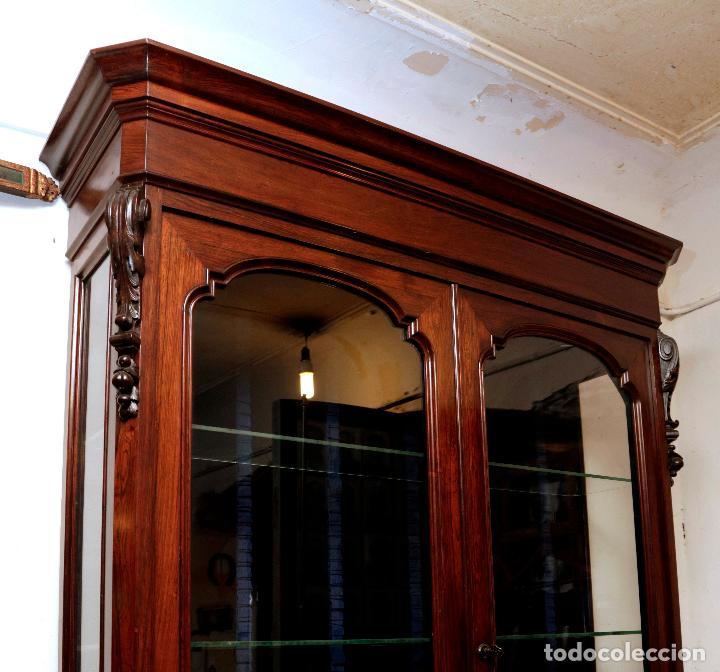 Antigüedades: cónsola librería siglo XIX en chicaranda en buen estado, restaurada. - Foto 2 - 146059466