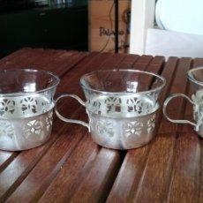 Antigüedades: JUEGO CAFÉ CRISTAL Y SOPORTE CROMADO. Lote 146068992