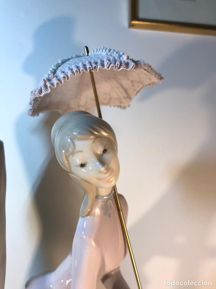 Antiques: Figura Porcelana- Lladró-Grupo con Sombrilla- 50 cm - Foto 6 - 146071933