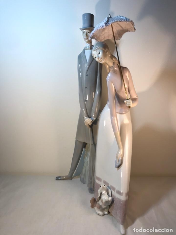 Antiques: Figura Porcelana- Lladró-Grupo con Sombrilla- 50 cm - Foto 14 - 146071933