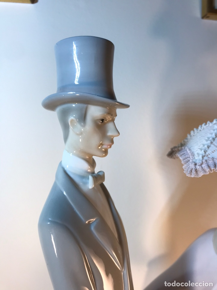 Antiques: Figura Porcelana- Lladró-Grupo con Sombrilla- 50 cm - Foto 34 - 146071933
