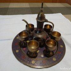 Antigüedades: JUEGO DE TE ARABE DE METAL. Lote 146076754