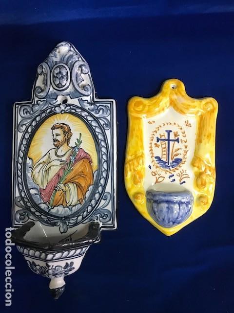 2 BENDITERA DE TALAVERA UNA SAN JOSÉ, OTRA CON CRUZ (Antigüedades - Religiosas - Benditeras)