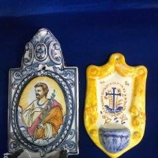 Antigüedades: 2 BENDITERA DE TALAVERA UNA SAN JOSÉ, OTRA CON CRUZ. Lote 146081482