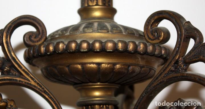 Antigüedades: PRECIOSO FANAL DE GAS DE EPOCA MODERNISTA EN BRONCE Y GLOBO EN CRISTAL OPACO. CIRCA 1910 - Foto 4 - 146097898