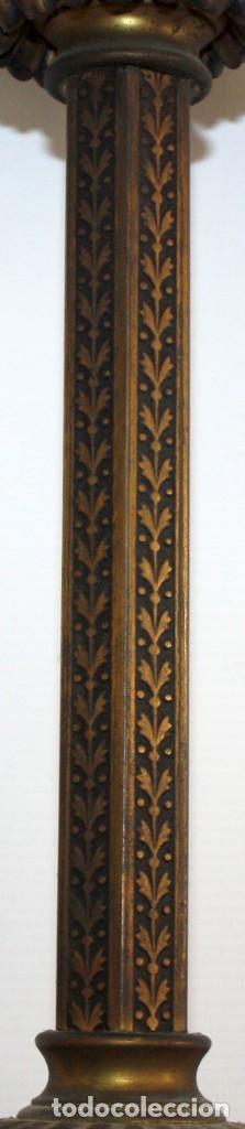 Antigüedades: PRECIOSO FANAL DE GAS DE EPOCA MODERNISTA EN BRONCE Y GLOBO EN CRISTAL OPACO. CIRCA 1910 - Foto 6 - 146097898