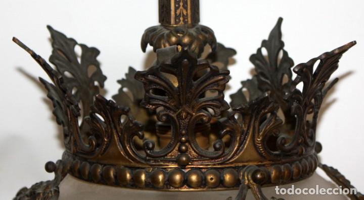 Antigüedades: PRECIOSO FANAL DE GAS DE EPOCA MODERNISTA EN BRONCE Y GLOBO EN CRISTAL OPACO. CIRCA 1910 - Foto 8 - 146097898