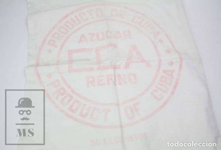 ANTIGUO SACO DE TELA - AZÚCAR ECA REFINO. PRODUCTO DE CUBA - MEDIDAS 47 X 84 CM (Antigüedades - Varios)