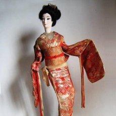 Antigüedades: MUÑECA GEISHA DE BOUDOIR (TOCADOR). 47 CM. ARTESANÍA JAPONESA. AÑOS 50-60 (GEISHA 1). Lote 146141730