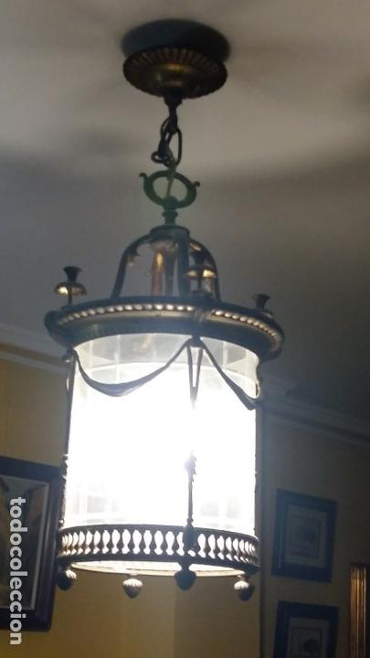 Antigüedades: Lampara Farol de bronce y cristal curvado en 1 pieza - Foto 3 - 146146022