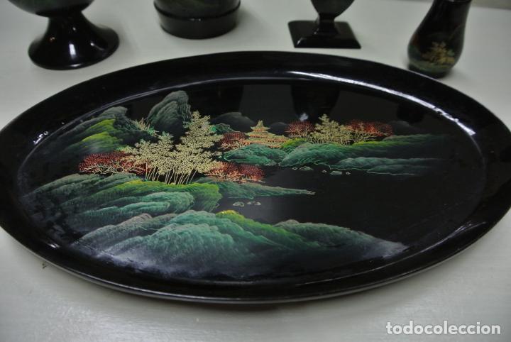 Antigüedades: Juego para escritorio. Madera lacada y pintada a mano. Chino. Oriental, Bandeja, portalapices.. - Foto 3 - 146173418