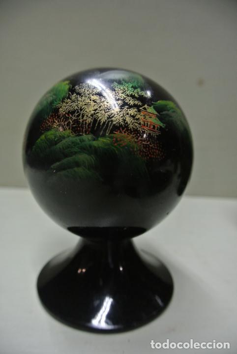 Antigüedades: Juego para escritorio. Madera lacada y pintada a mano. Chino. Oriental, Bandeja, portalapices.. - Foto 4 - 146173418