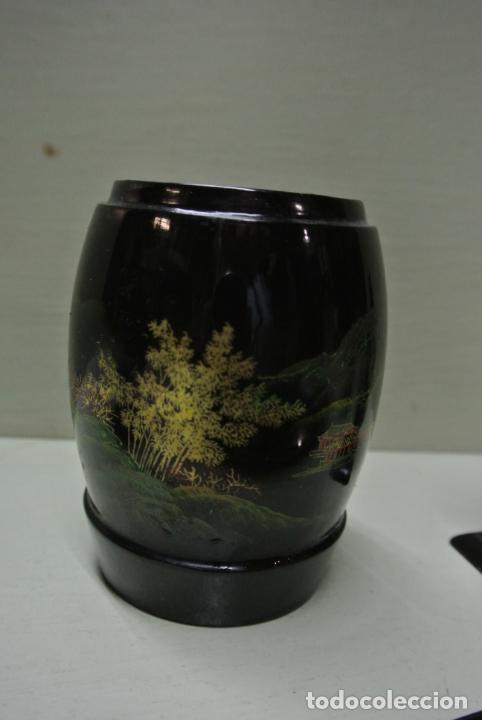 Antigüedades: Juego para escritorio. Madera lacada y pintada a mano. Chino. Oriental, Bandeja, portalapices.. - Foto 6 - 146173418