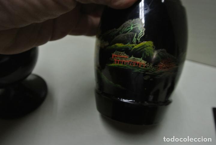 Antigüedades: Juego para escritorio. Madera lacada y pintada a mano. Chino. Oriental, Bandeja, portalapices.. - Foto 7 - 146173418