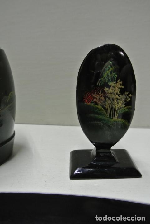 Antigüedades: Juego para escritorio. Madera lacada y pintada a mano. Chino. Oriental, Bandeja, portalapices.. - Foto 8 - 146173418