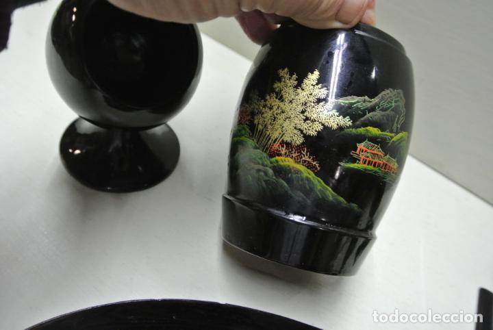 Antigüedades: Juego para escritorio. Madera lacada y pintada a mano. Chino. Oriental, Bandeja, portalapices.. - Foto 9 - 146173418