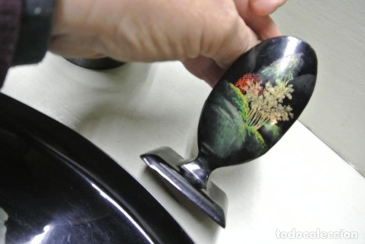 Antigüedades: Juego para escritorio. Madera lacada y pintada a mano. Chino. Oriental, Bandeja, portalapices.. - Foto 10 - 146173418