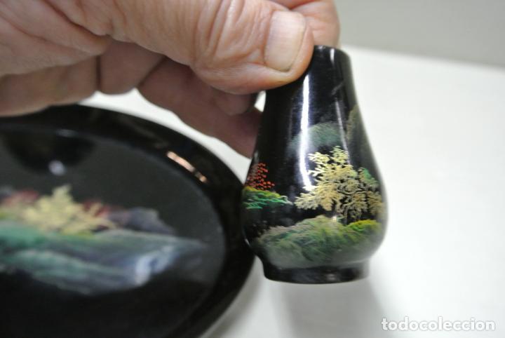 Antigüedades: Juego para escritorio. Madera lacada y pintada a mano. Chino. Oriental, Bandeja, portalapices.. - Foto 11 - 146173418