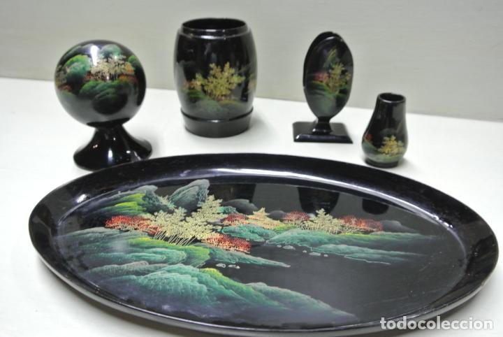 Antigüedades: Juego para escritorio. Madera lacada y pintada a mano. Chino. Oriental, Bandeja, portalapices.. - Foto 16 - 146173418
