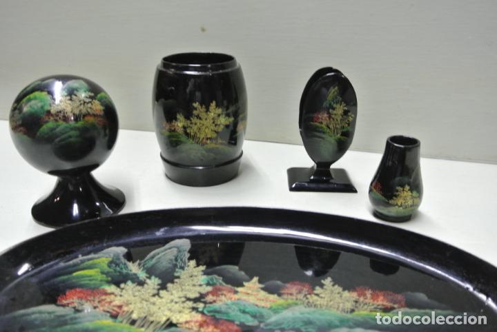 Antigüedades: Juego para escritorio. Madera lacada y pintada a mano. Chino. Oriental, Bandeja, portalapices.. - Foto 17 - 146173418