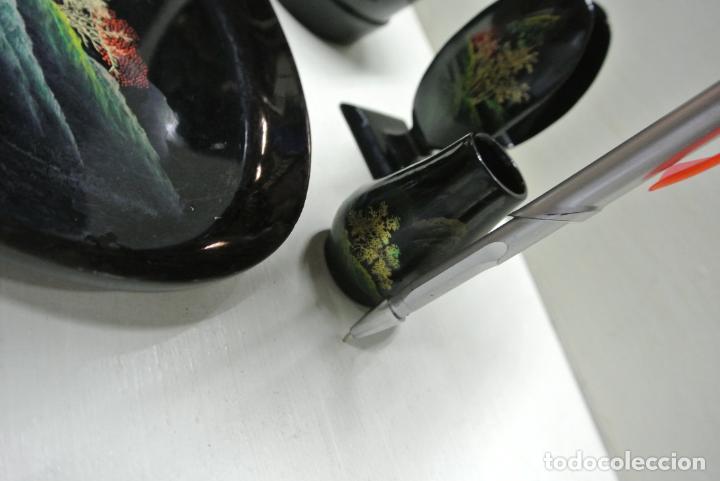 Antigüedades: Juego para escritorio. Madera lacada y pintada a mano. Chino. Oriental, Bandeja, portalapices.. - Foto 18 - 146173418