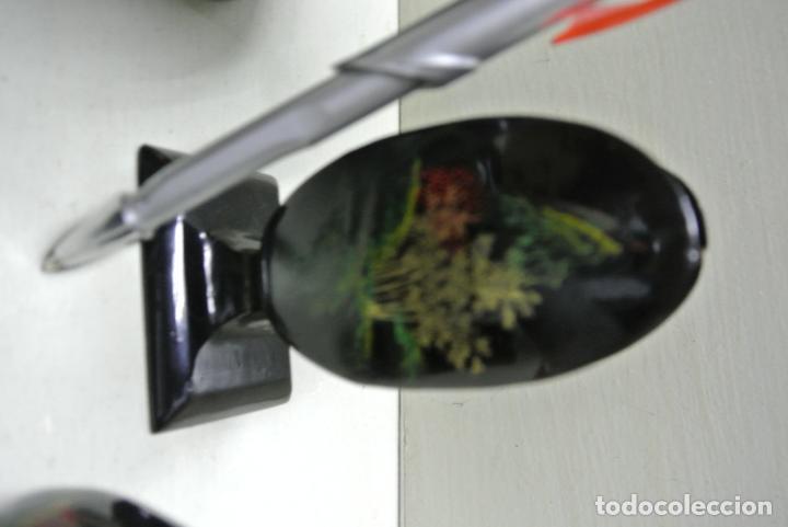 Antigüedades: Juego para escritorio. Madera lacada y pintada a mano. Chino. Oriental, Bandeja, portalapices.. - Foto 19 - 146173418