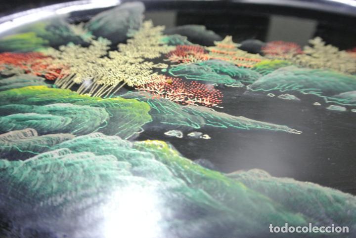 Antigüedades: Juego para escritorio. Madera lacada y pintada a mano. Chino. Oriental, Bandeja, portalapices.. - Foto 22 - 146173418