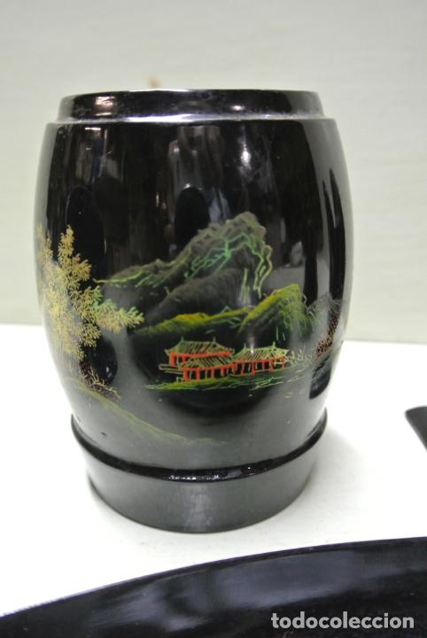 Antigüedades: Juego para escritorio. Madera lacada y pintada a mano. Chino. Oriental, Bandeja, portalapices.. - Foto 23 - 146173418