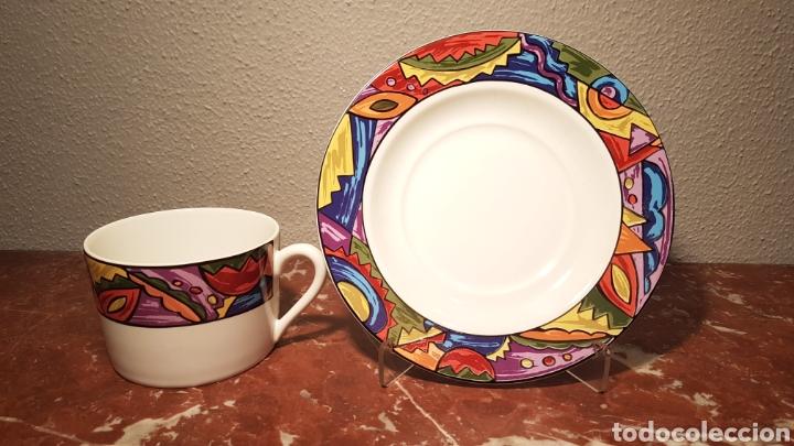 TAZON Y PLATO DE PORCELANA VINTAGE STONEWARE BY FF / F. AND F. (Antigüedades - Porcelanas y Cerámicas - Otras)