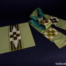Antigüedades: CARPETA CORPORAL Y ESTOLA LITURGICA COLOR VERDE Y ORO . Lote 146283690