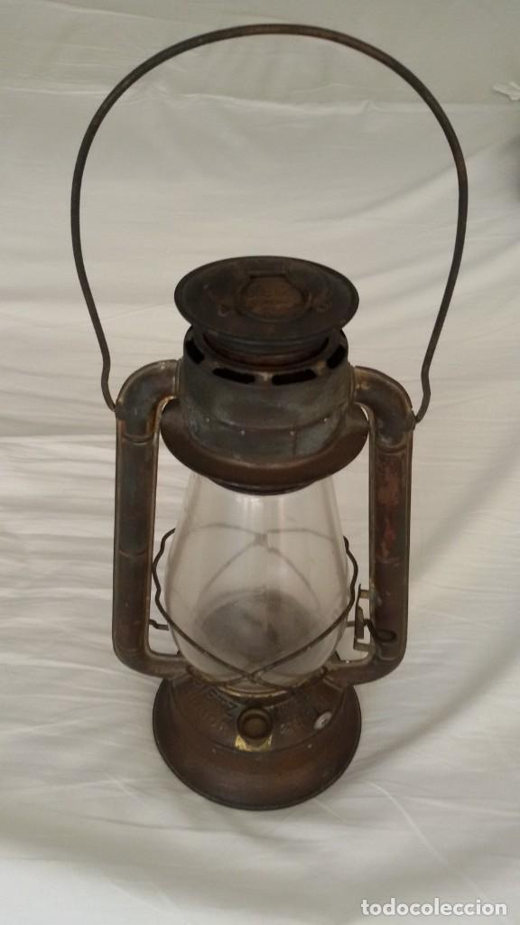 Antigüedades: Quinqué, farol, Dietz Junior, N.Y. U.S.A, cristal original, mecha original. - Foto 2 - 146334490