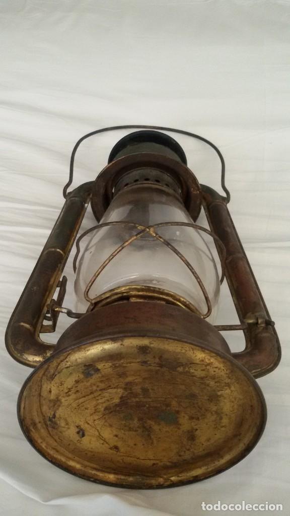Antigüedades: Quinqué, farol, Dietz Junior, N.Y. U.S.A, cristal original, mecha original. - Foto 4 - 146334490