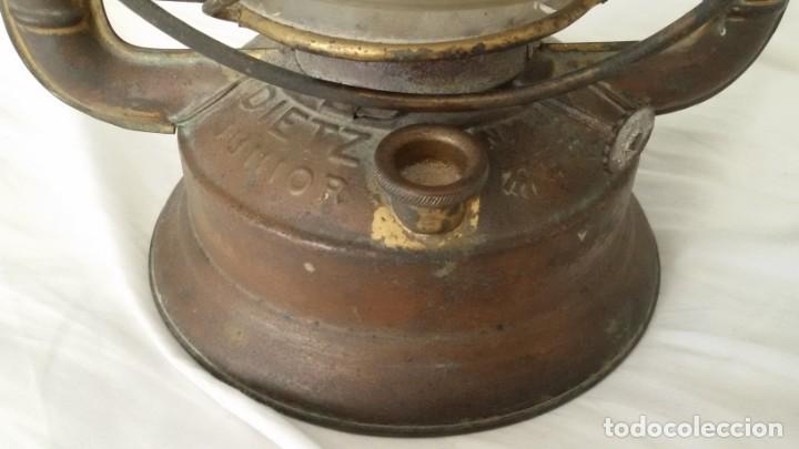 Antigüedades: Quinqué, farol, Dietz Junior, N.Y. U.S.A, cristal original, mecha original. - Foto 6 - 146334490