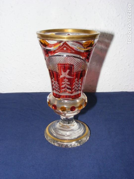JARRON TALLADO BOHEMIA (Antigüedades - Cristal y Vidrio - Bohemia)