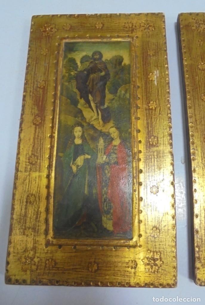 Antigüedades: CONJUNTO DE CUADROS CON IMAGENES RELIGIOSAS. 13 X 25CM. LAMINA PEGADA A MADERA Y BARNIZADA. VER - Foto 2 - 146374494