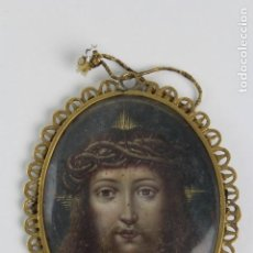 Antigüedades: MINIATURA PINTADA A MANO SOBRE COBRE. ECCE HOMO, ESCUELA ESPAÑOLA. S.XVII.. Lote 146400014
