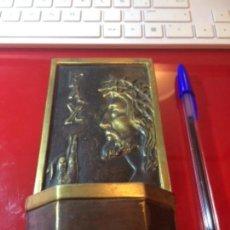 Antigüedades: ANTIGUA BENDITERA DE BRONCE CRISTO BENDICIENDO.. Lote 146423294