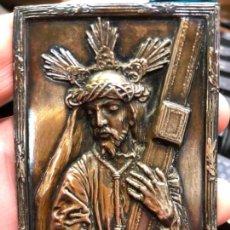 Antigüedades: MUY ANTIGUO RELIEVE DE PLATA DE JESUS NAZARENO DE CADIZ - MEDIDA 8,5X6 CM - SEMANA SANTA - RELIGIOSO. Lote 146425862