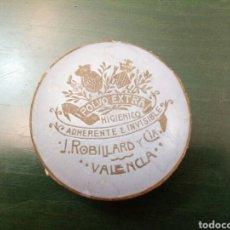 Antigüedades: CAJA DE POLVOS HIGIENICOS J.ROBILLARD Y CIA VALENCIA SIGLO XX. Lote 146431889
